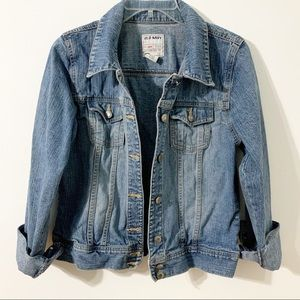 Old Navy Button-up Jean Jacket with Standup Collar